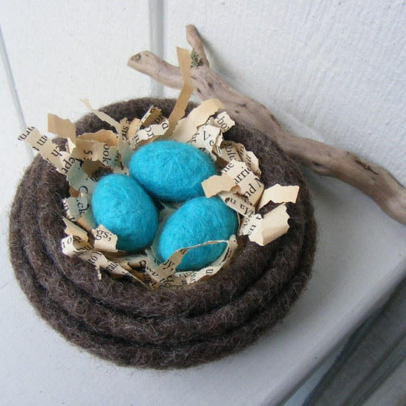 Made to Order-Small set of 3 Felted Nesting Bowls-with 3 Felted Eggs