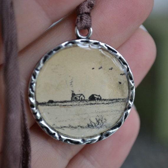 Knotted Seam Binding Necklace - Silver Pendant -Little House on the Prairie Ilustration-House