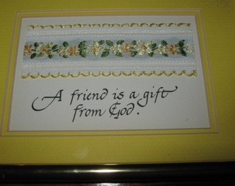 Vintage Gold Framed  Calligraphy Sentiment in Yellow