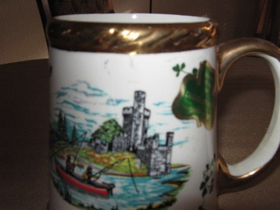 Vintage Shamrock Irish Mug