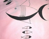 Vintage 1950s Tablecloth  -  Large Mid Century Tablecloth with Atomic Pink and Black Fish Tale Print