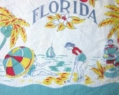 Vintage 1950s Tablecloth  :    Florida State Map Tablecloth