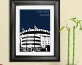 New York Yankees - Yankee Stadium - New York Skyline Poster Art Print, 8x10 - Choose your color