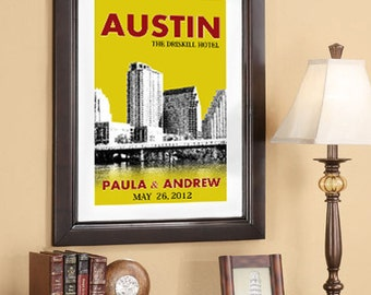 Wedding Poster 20x30 - Austin Skyline - Choose your city image and color - Style E