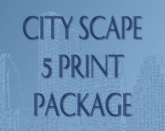 Skyline City Scape 5 Print Package - 8 x 10 Choose Your Color
