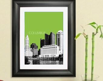 Columbus Skyline Poster - Columbus Ohio City Skyline - Art Print - 8 x 10 Choose Your Color