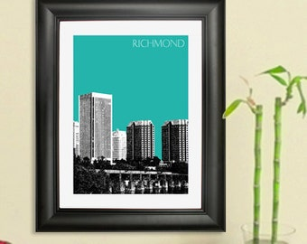 Richmond Skyline Poster - Richmond Virginia City Skyline - Art Print - 8 x 10 Choose Your Color