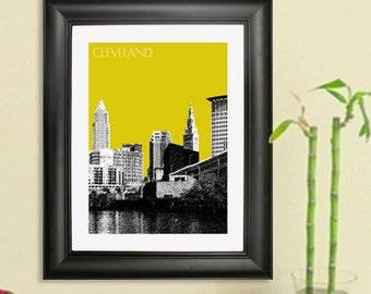 Cleveland Skyline Poster - Cleveland City Skyline - Art Print - 8 x 10 Choose Your Color