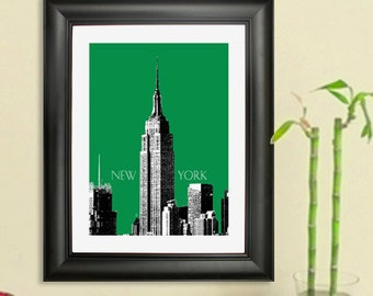 New York Skyline Poster - Empire State Building Art Print, 8x10 - Choose your color