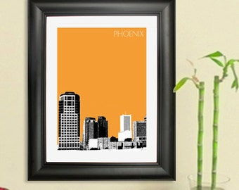 Phoenix City Skyline - Phoenix Skyline Poster Art Print , 8x10 - Choose your color
