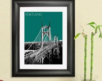 Portland City Skyline - St. Johns Bridge Poster - Portland Oregon Skyline Art Print , 8x10 - Choose your color