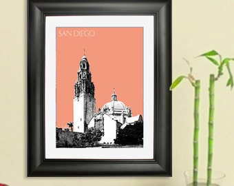 San Diego Skyline Poster - Balboa Park Tower Art Print - 8 x 10 Choose Your Color