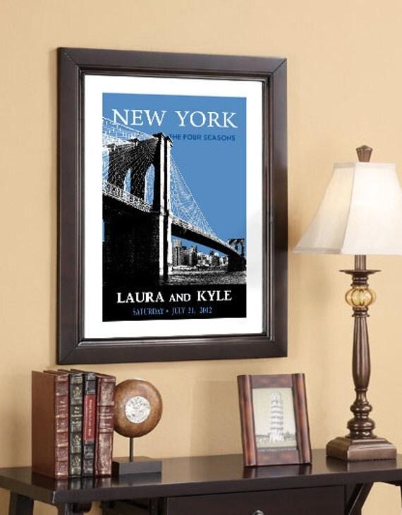 Wedding Date Art, Personalized Art Date Print., Wedding Anniversary Date Print., New York Skyline 16x24 Wedding Poster - Style C