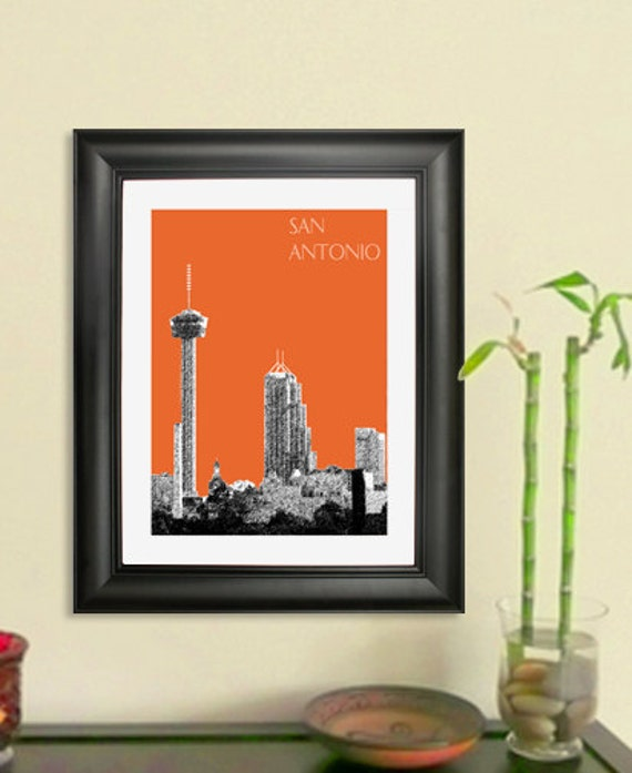 San Antonio City Skyline Poster - San Antonio Texas Skyline Art Print , 8x10 - Choose your color