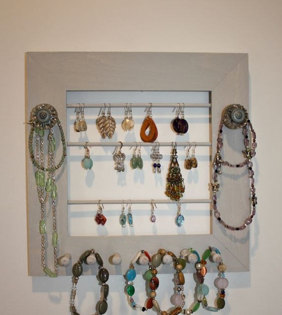 Jewelry Frame Holder in Grey and Pewter Knobs.