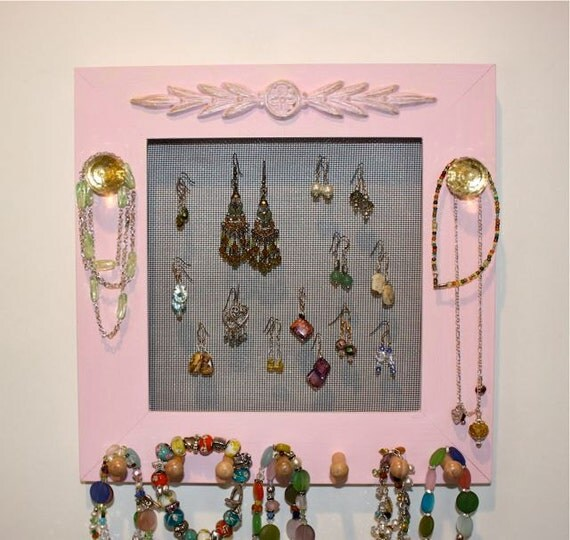 Pink Jewelry Frame Square Glass Cluster Knobs.