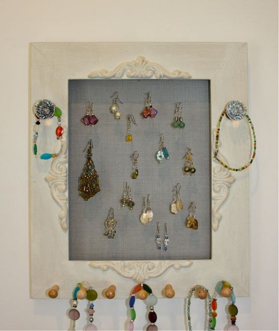 Shabby Chic Jewelry Frame Holder Rustic Cream.