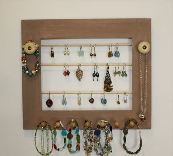 Earring Holder Organizer Soft Brown Jewelry Frame.