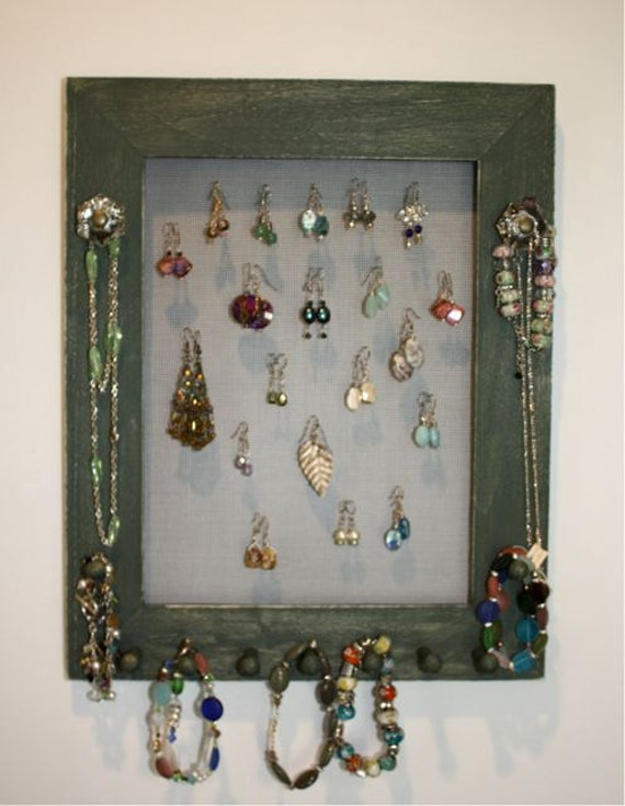 Olive Jewelry Frame Holder Organizer Natural pegs.