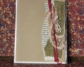 Fabric collage mixed-media all occasion blank greeting card