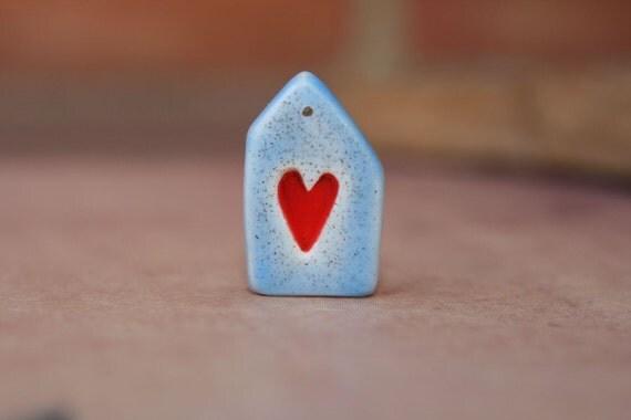 Handmade polymer clay house pendant or charm