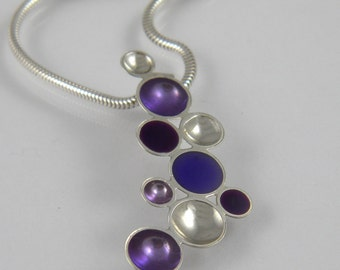 Purple and Plum Resin and Sterling Silver Bubble Pendant