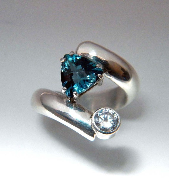 Trillion London Blue Topaz Ring - Size 5