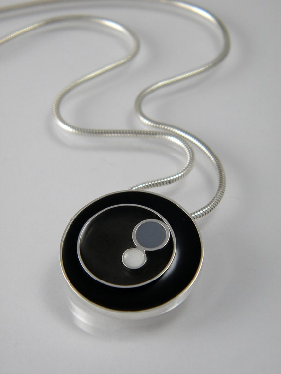 Black, Grey and White Resin Circle Pendant