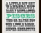Bad Pisces Good Pisces. Typography Art Print. Zodiac Birthday Print.