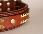 Brown Leather Dog Collar - Padded Leather Dog Collar - Handmade in USA - Available in Many Colors - Custom Dog Collar Leather - Pet Collars