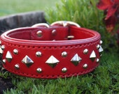 Red Leather Dog Collar - Padded Dog Collar Size 12 inches and up