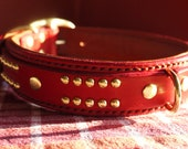 Dog Collar, Red Leather Dog Collar, Padded Leather Dog Collar, Custom Dog Collar for Large Breeds - Many Colors Sale - Red Collar for dogs