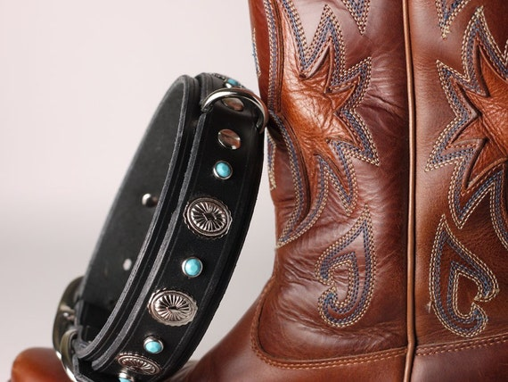 Turquoise Western Style Leather Dog Collar