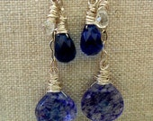 Moody Blues Earrings - Sterling Silver - AAA white topaz - royal blue quartz - blueberry quartz - E134