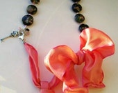 Necklace  Leopardskin Jasper, Tangerine tango ribbon