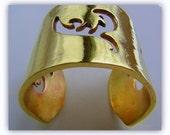 Gold bracelet cuff, handcrafted heavy gauge brass