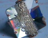 Square crystal ring, flashy statement ring