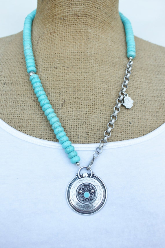 Gorgeous asymmetric necklace made of antique matte silver and turquoise beads/ Ethnic/ hamsa charm/ tradition