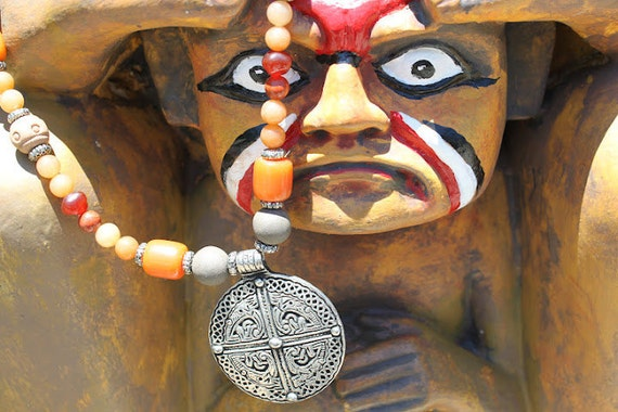 DESERT NOMAD-Tibetan silver pendant necklace along with handmade clay beads/Ethnic/Tribal/Gypsy/Nomad/handmade/One f a kind