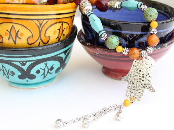 MOROCCAN PARTY- colorful beaded dangle Hamsa pendant necklace /Moroccan style/bohemian/tribal/gypsy/hippie/good luck/handmade/ one of a kind