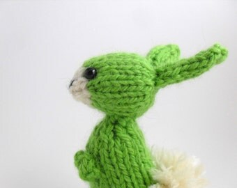 Hand Knit Bunny Plush Lime Green Ready To Ship