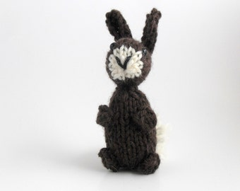 Hand Knit Bunny. Knit Rabbit. Chocolate Bunny.  Brown Hare.  Cocoa Rabbit. Pocket Pal. Pretend Play. Ready To Ship. Gifts Under 10.