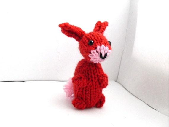 Hand Knit Bunny Plush Red Ready to Ship