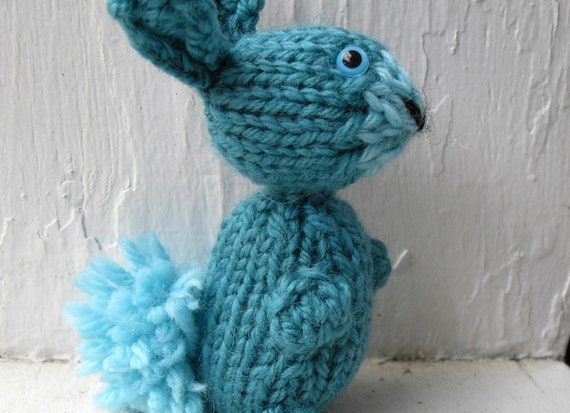 Hand Knit Bunny Plush Teal Ready to Ship