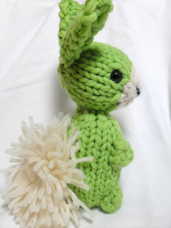 Ready to ship Hand Knit Jumbo Green Bunny