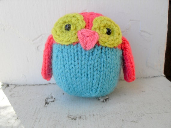 Hand Knit Owl Plush Coral and Turquoise Ready To Ship