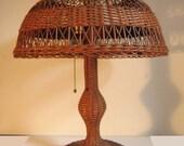 antique wicker lamp nice shape excellent large