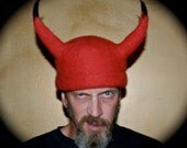 Madville Studios Adult Hand Crafted and Designed Horned Devil Wool HAT