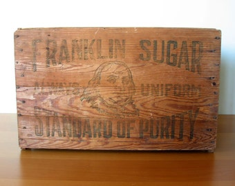Vintage Franklin Sugar Wood Crate - Industrial Shipping Crate