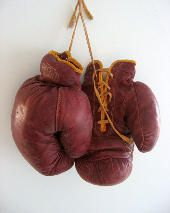 For Kat RESERVED - Vintage Boxing Gloves - Wilson, Sports Decor- RESERVED
